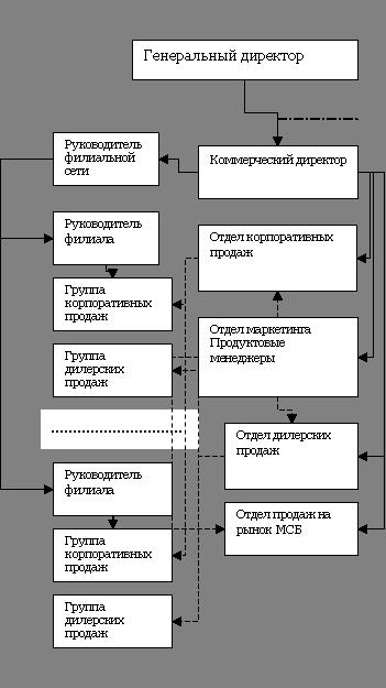 Рис 4. Дивизионная структура управления (фрагмент) .